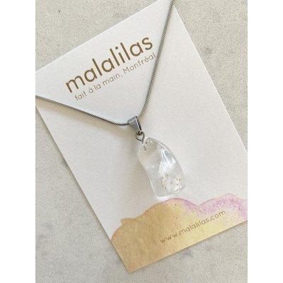 Malalilas Collier argent - Quartz blanc clair