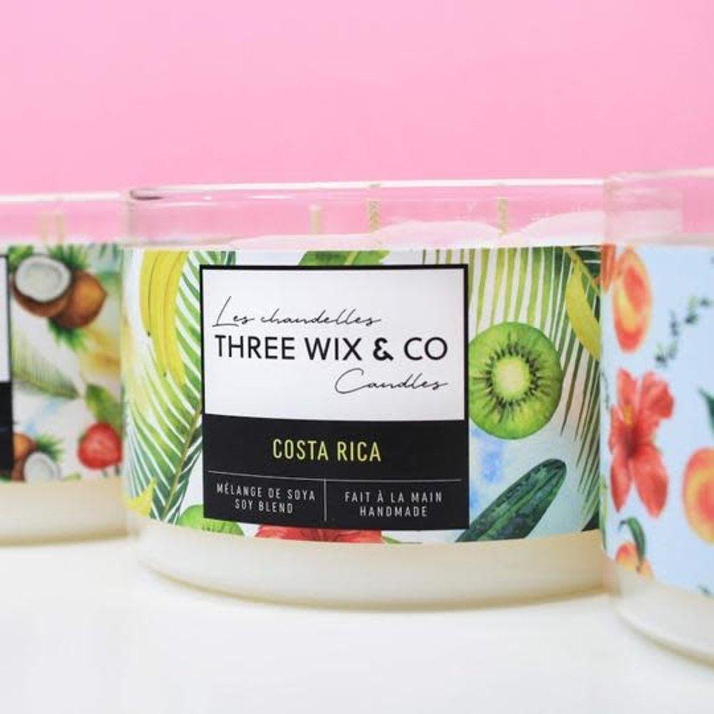 Three Wix & Co. Chandelle à trois mèches - Costa Rica