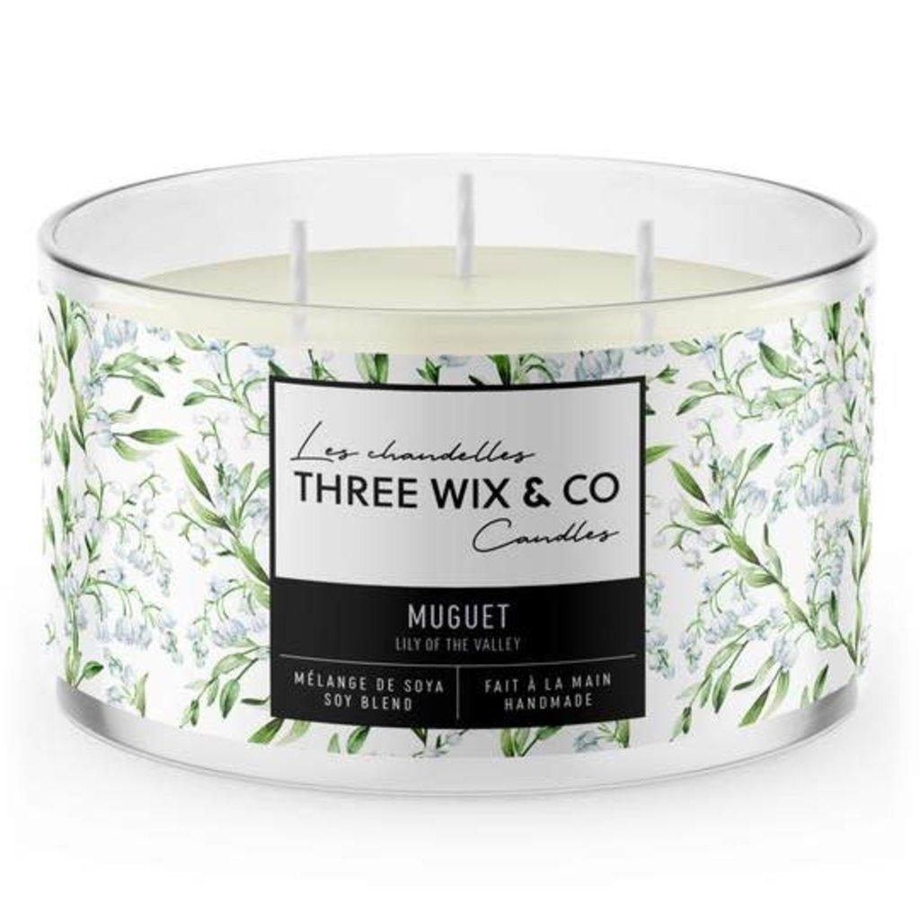 Three Wix & Co. Chandelle à trois mèches - Muguet