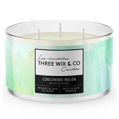 Three Wix & Co. Chandelle à trois mèches - Concombre Melon