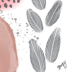 Stefy Artiste Affiche aquarelle - Abstraite (rose & gris)