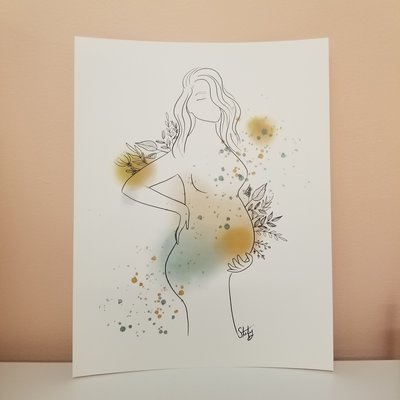 Stefy Artiste Affiche aquarelle - Femme enceinte