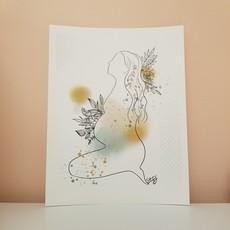 Stefy Artiste Affiche aquarelle - Maternité