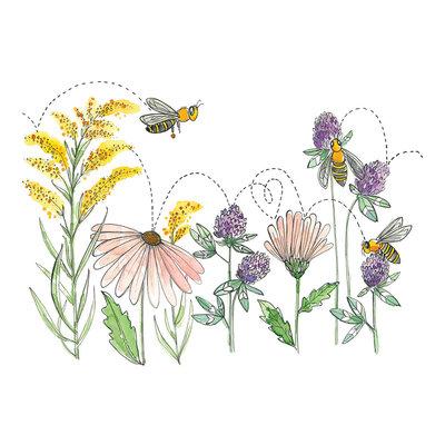 Stéphanie Renière Carte - Fleurs et abeilles