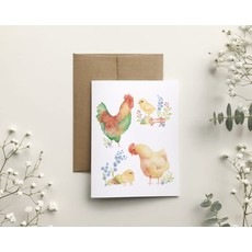KatrinnIllustration Carte - Poule et coq