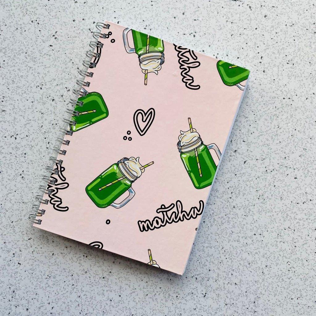 Bright Labels Cahier de notes à couverture rigide - Matcha