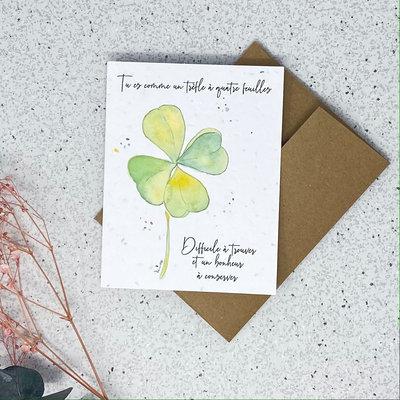 Kit de Survie Carte ensemencée - Trèfle à quatre feuilles