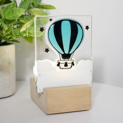 DUO verre fusion Veilleuse - Montgolfière turquoise