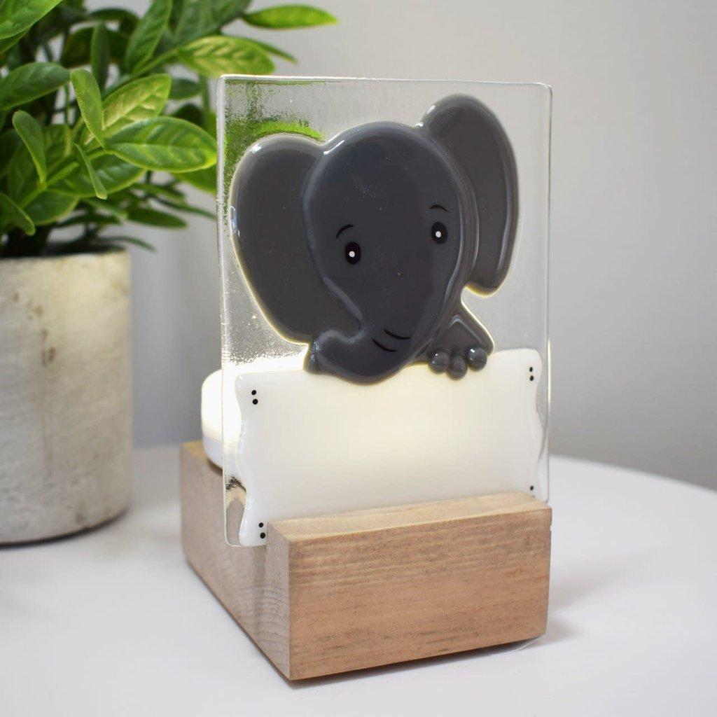 DUO verre fusion Veilleuse - Éléphant gris