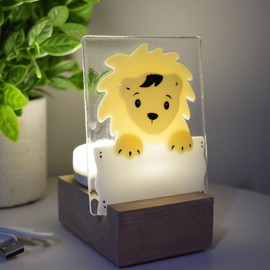 DUO verre fusion Veilleuse - Lion