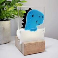 DUO verre fusion Veilleuse - T-rex Bleu