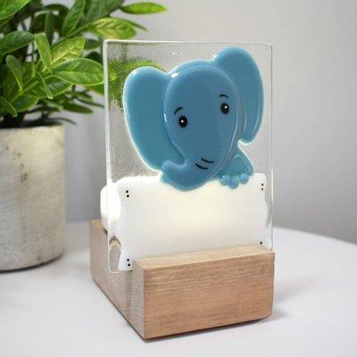 DUO verre fusion Veilleuse - Éléphant bleu
