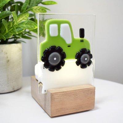 DUO verre fusion Veilleuse - Tracteur vert