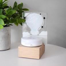 DUO verre fusion Veilleuse - Montgolfière beige