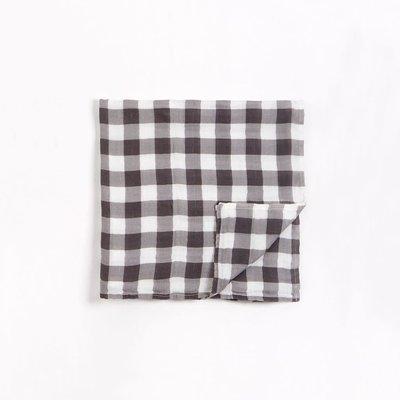 Petit Lem Lange blanc cassé en mousseline à imprimé « Vichy » gris charbon