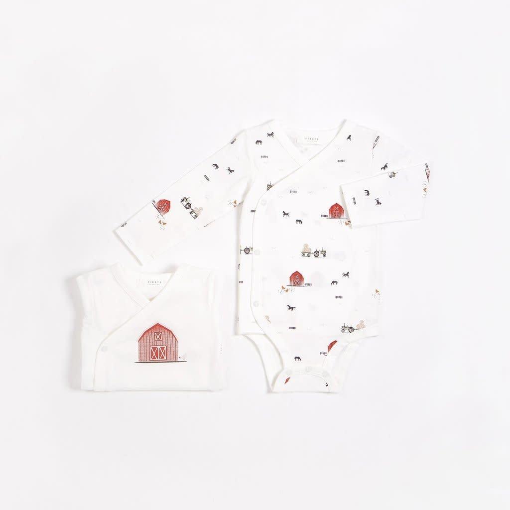 Petit Lem Cache-couches blanc cassé à imprimé  (2 pcs.) - Grange