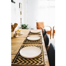 Argile et Osier Lot de deux sets de table rectangulaires en jonc tissé à la main