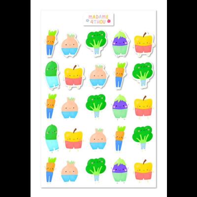 Madame 4thou Feuille d'autocollants - Légumes