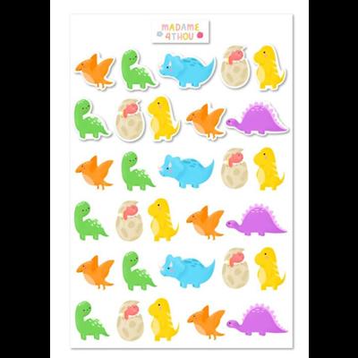 Madame 4thou Feuille d'autocollants - Dinosaures