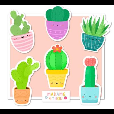 Madame 4thou Ensemble de 24 gros autocollants - Cactus
