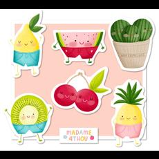 Madame 4thou Ensemble de 24 gros autocollants - Fruits