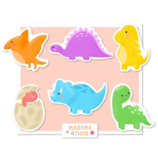 Madame 4thou Ensemble de 24 gros autocollants - Dinosaures