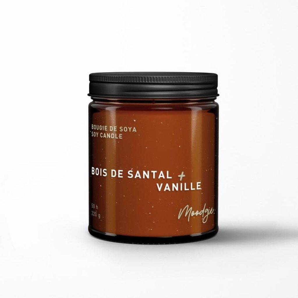 Moodgie Chandelle avec mèche de bois - Bois de santal + Vanille
