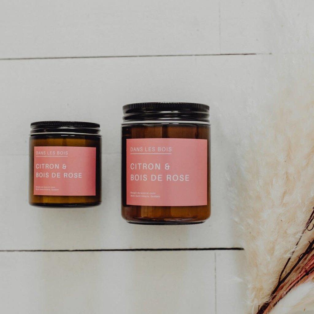 Dans les Bois Bougie avec mèche en bois - Citron et bois de rose