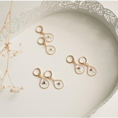 Boucles d'oreilles de fleurs pressées - Alyssum