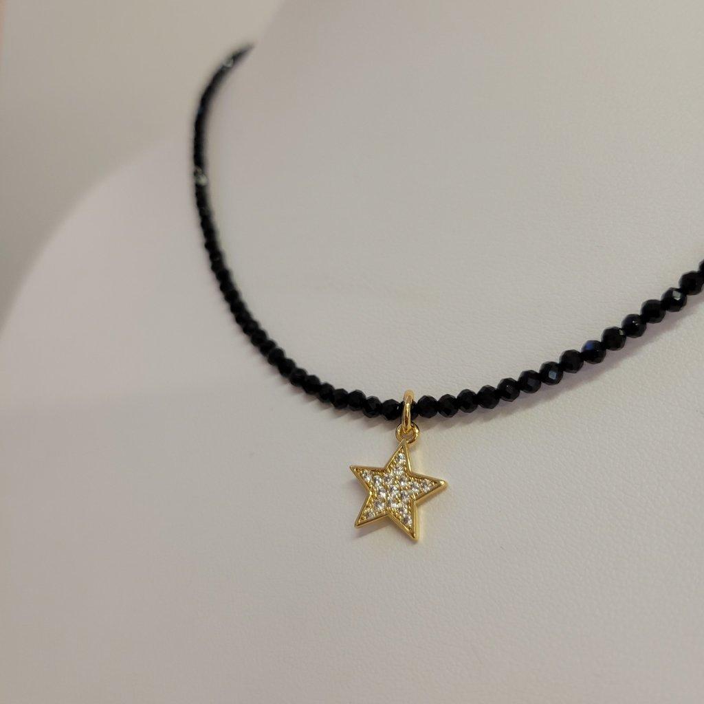 Malalilas Collier spinel noir et étoile or