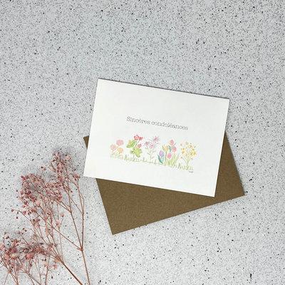 Kit de Survie Carte en papier lin - Sincères condoléances