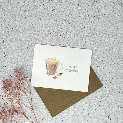 Kit de Survie Carte en papier lin - Bonne retraite (Cappuccino)