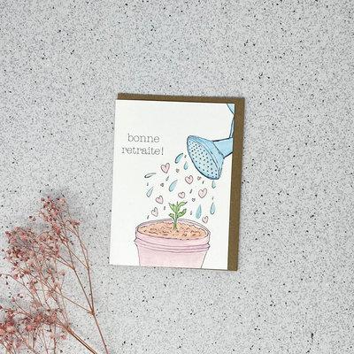 Kit de Survie Carte en papier lin - Bonne retraite (plante)