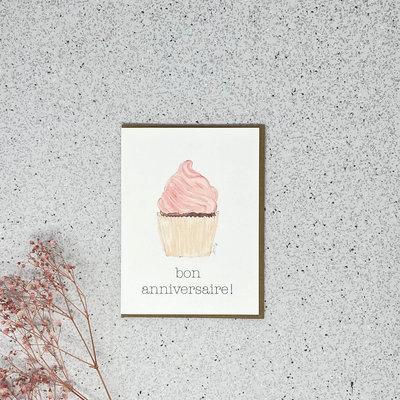 Kit de Survie Carte en papier lin - Cupcake de bon anniversaire