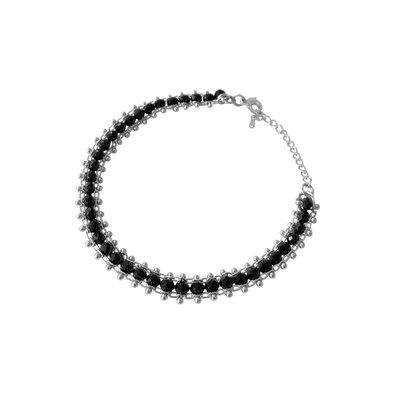 Lost & Faune Bracelet - Argent et perles noires