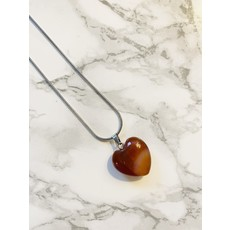 Malalilas Collier argent - Coeur Agathe rouge