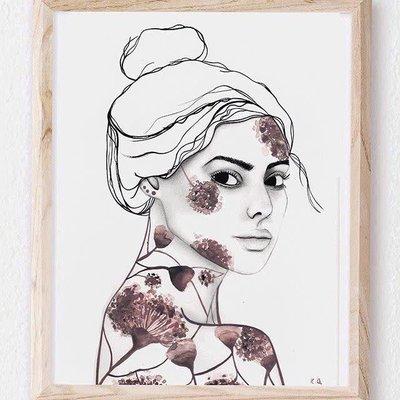 Kim angell illustrations Affiche - Le visage en fleur