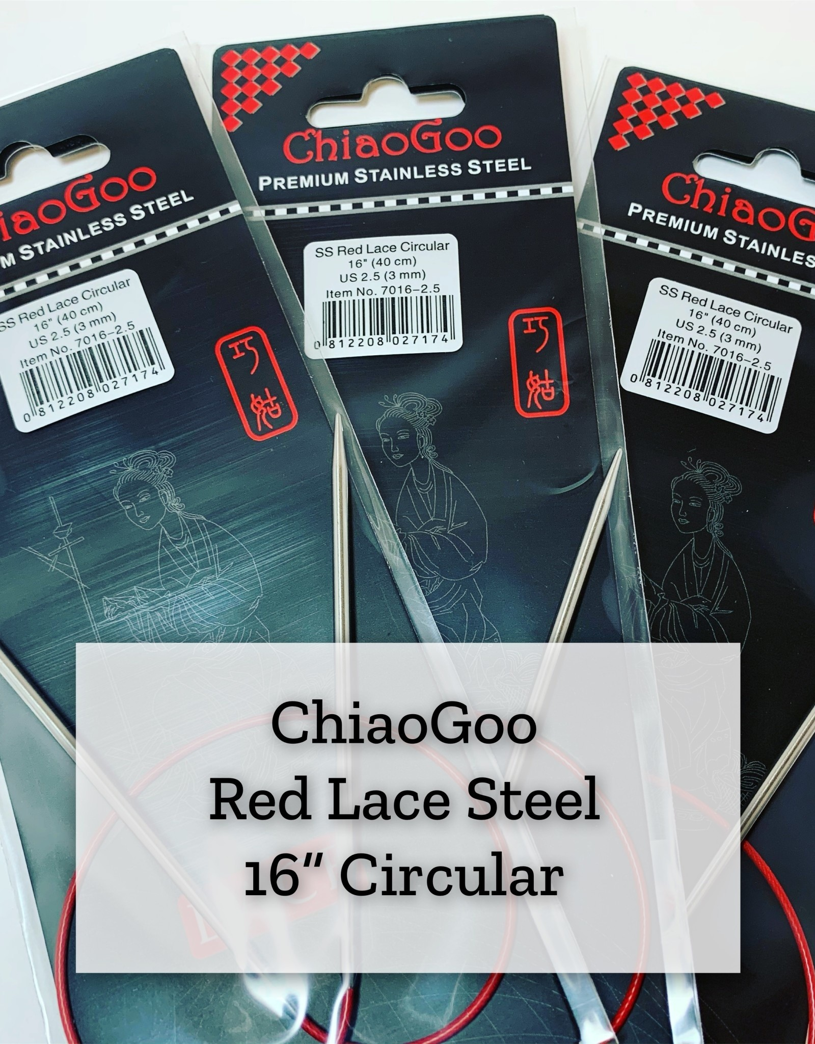 "ChiaoGoo Red Lace Steel - 16"" 3 mm"