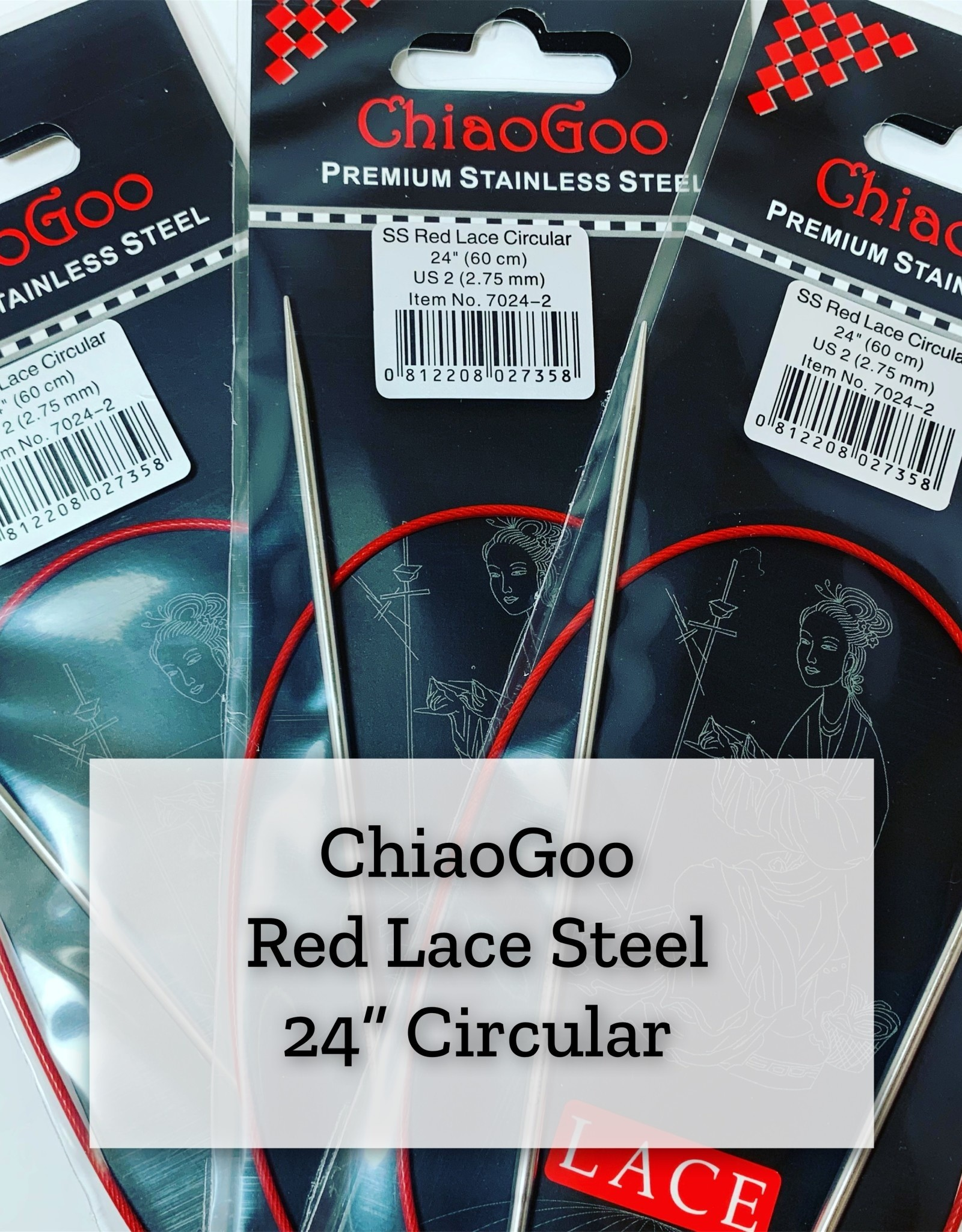 "ChiaoGoo Red Lace Steel - 24"" 2.5 mm"