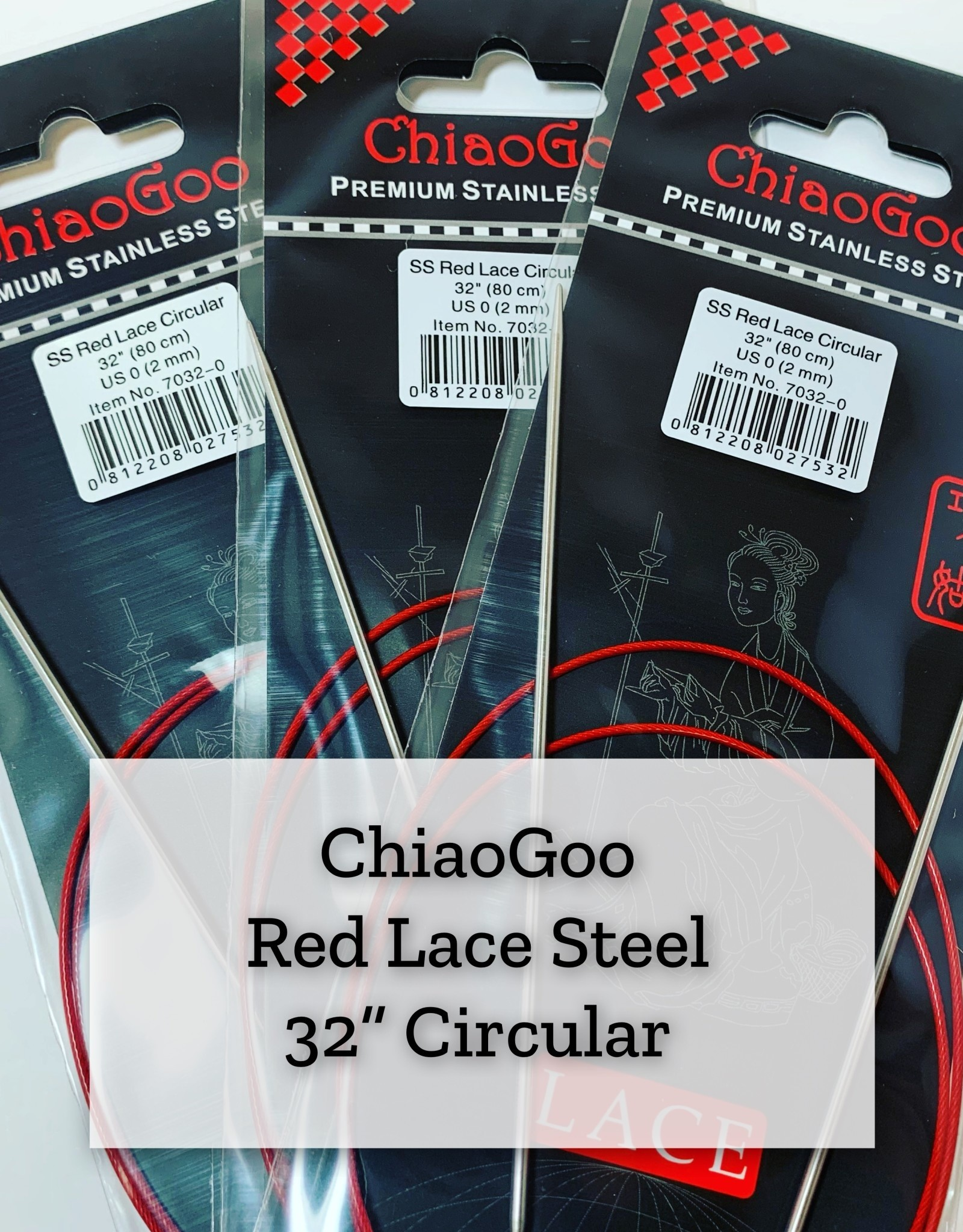 "ChiaoGoo Red Lace Steel - 32"" 2.25 mm"