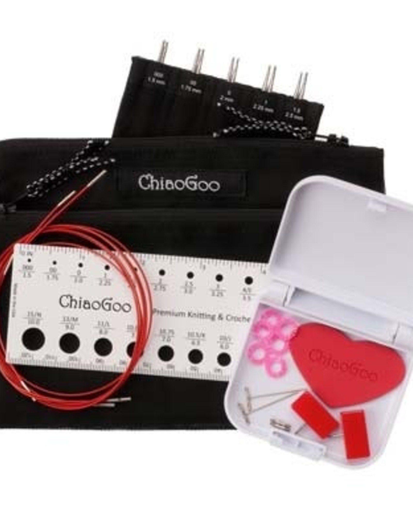 "ChiaoGoo Red Lace Steel 5"" Inter MINI Set - 1.5 mm to 2.5 mm"