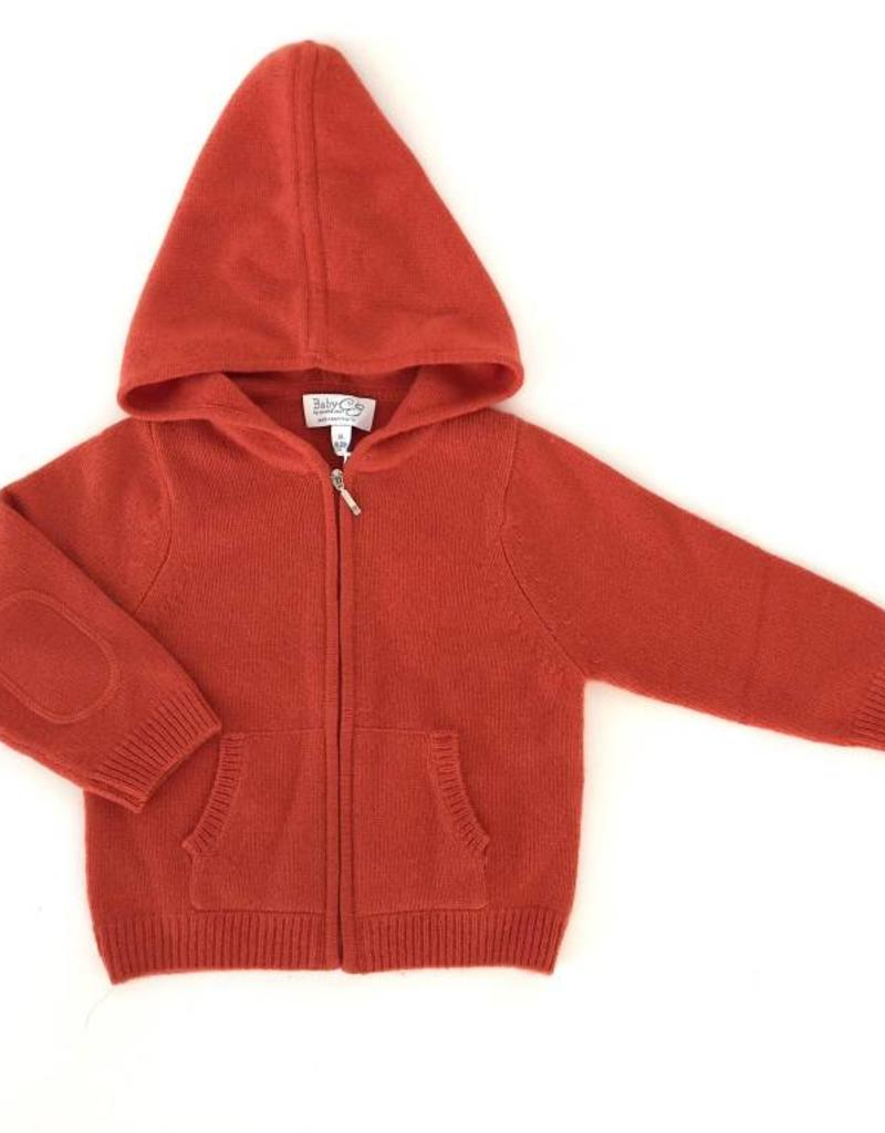 Baby CZ Baby CZ Cashmere Hoodie w/ Zipper Orange
