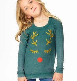 Chaser Chaser Cozy Knit Raglan Pullover Reindeer Face