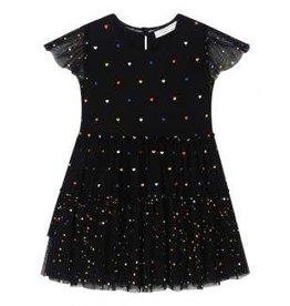 Stella McCartney Stella McCartney Karina Girl Tiered Tulle Dress w/ Multicolor Hearts