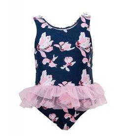 Snapperrock Snapper Rock Navy Orchid Tulle Skirt Swimsuit