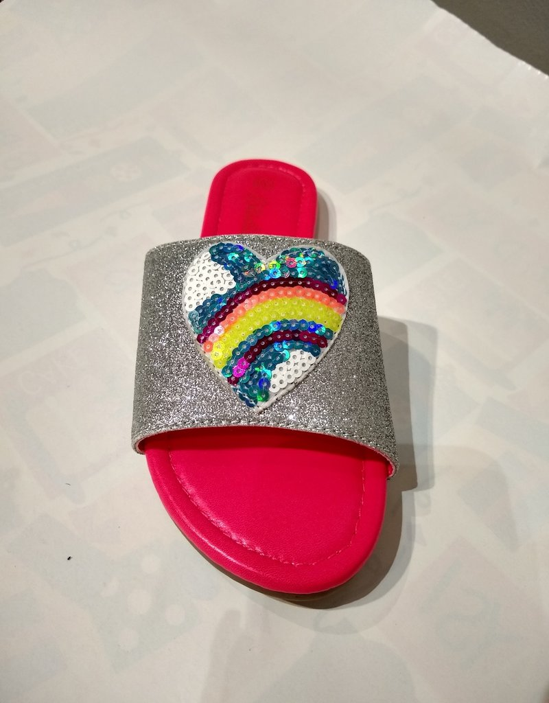 Billieblush Billieblush Rainbow Heart Slide Sandals