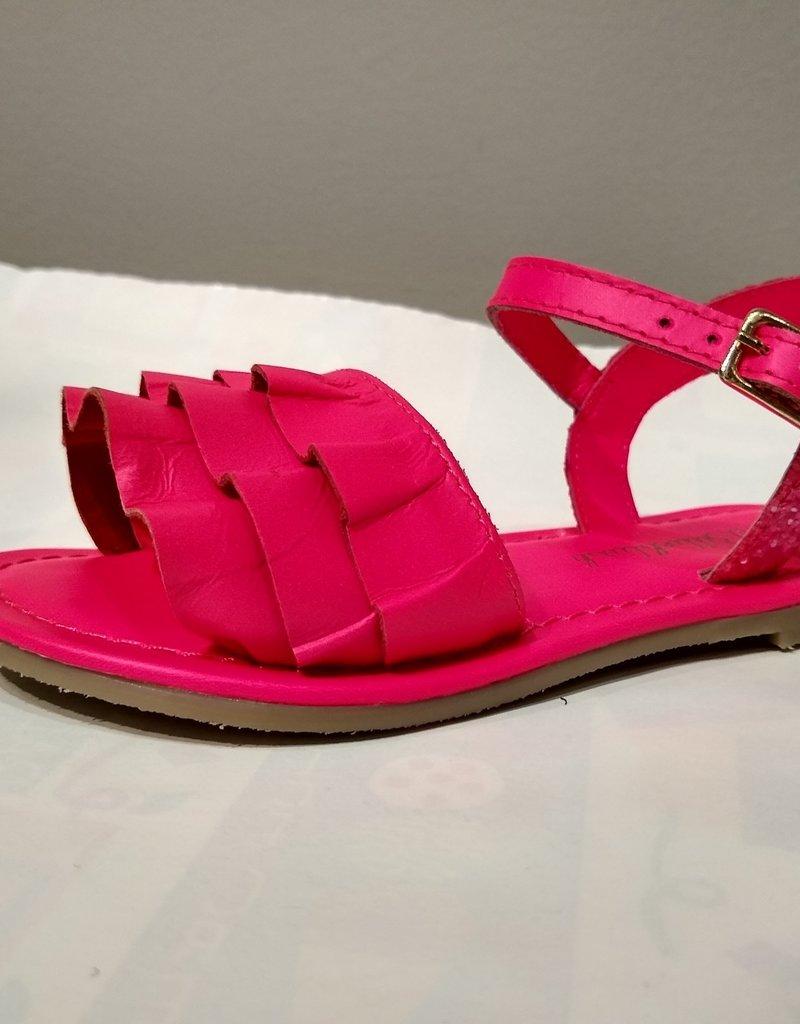 Billieblush Billieblush Ruffle & Glitter Leather Sandals
