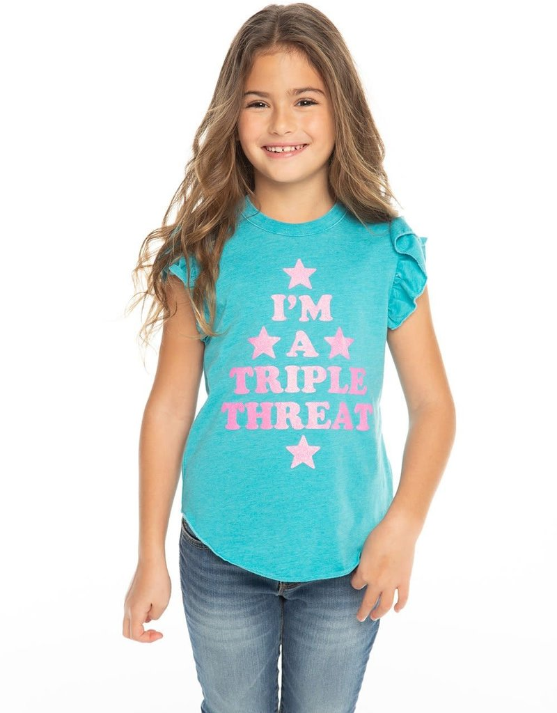 Chaser Chaser Girls Triple Threat Flutter Sleeve Tee