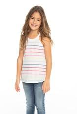 Chaser Chaser Girls Rainbow Stripe Flouncy High Neck Tank