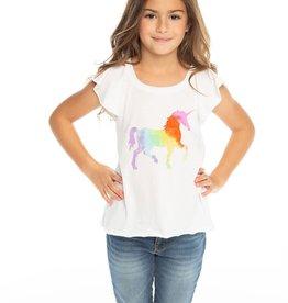 Chaser Chaser Girls Rainbow Unicorn Flouncy Flutter Sleeve Tee